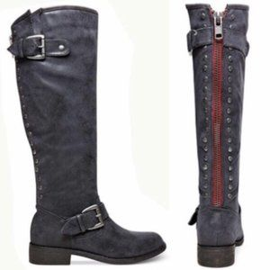 Madden Girl Cactus Distressed Tall Red Zipper Boot